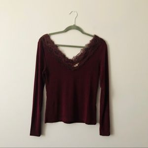H & M Burgundy Lace Top